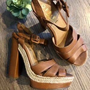 Nasty Gal Tan Leather Platform Heels